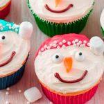 Cupcakes de Navidad: muñecos de nieve