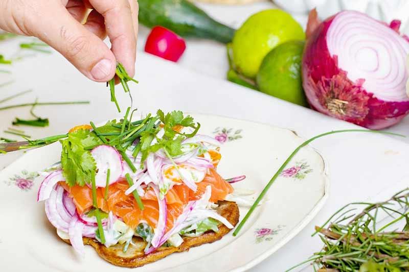plato de salmón con queso ahumado cebolla morada y especias